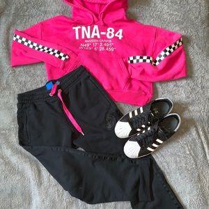 Adidas // Black Cropped Terrycloth Sweatpants